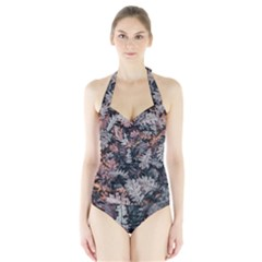 Leaf Leaves Autumn Fall Brown Halter Swimsuit