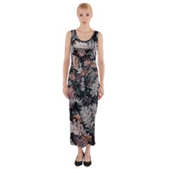 Leaf Leaves Autumn Fall Brown Fitted Maxi Dress