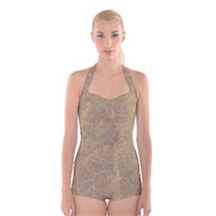 Abstract Forest Trees Age Aging Boyleg Halter Swimsuit