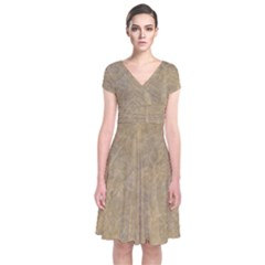 Abstract Forest Trees Age Aging Short Sleeve Front Wrap Dress