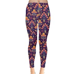 Abstract Background Floral Pattern Leggings
