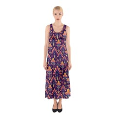 Abstract Background Floral Pattern Sleeveless Maxi Dress