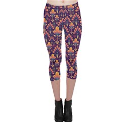 Abstract Background Floral Pattern Capri Leggings
