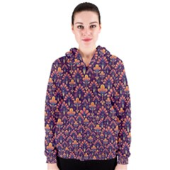 Abstract Background Floral Pattern Women s Zipper Hoodie