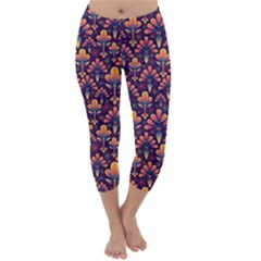 Abstract Background Floral Pattern Capri Winter Leggings