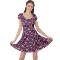 Abstract Background Floral Pattern Cap Sleeve Dresses