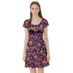 Abstract Background Floral Pattern Short Sleeve Skater Dress