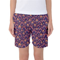 Abstract Background Floral Pattern Women s Basketball Shorts