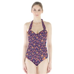 Abstract Background Floral Pattern Halter Swimsuit