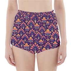 Abstract Background Floral Pattern High Waisted Bikini Bottoms