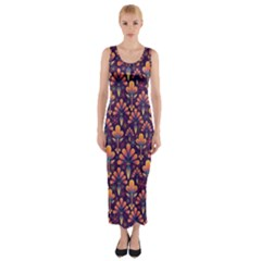 Abstract Background Floral Pattern Fitted Maxi Dress