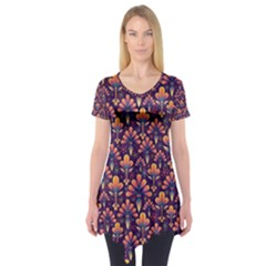 Abstract Background Floral Pattern Short Sleeve Tunic
