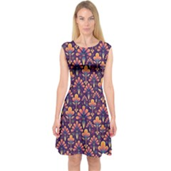 Abstract Background Floral Pattern Capsleeve Midi Dress