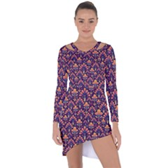 Abstract Background Floral Pattern Asymmetric Cut Out Shift Dress