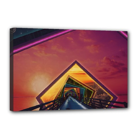 The Rainbow Bridge of a Thousand Fractal Colors Canvas 18  x 12