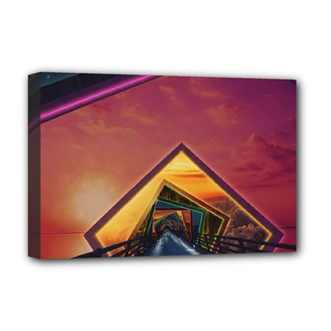 The Rainbow Bridge of a Thousand Fractal Colors Deluxe Canvas 18  x 12