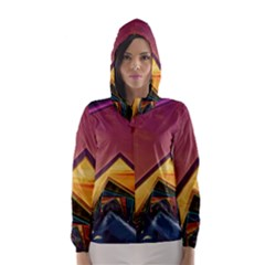 The Rainbow Bridge of a Thousand Fractal Colors Hooded Wind Breaker (Women)