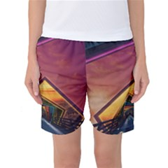 The Rainbow Bridge of a Thousand Fractal Colors Women s Basketball Shorts