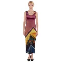 The Rainbow Bridge of a Thousand Fractal Colors Fitted Maxi Dress