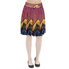 The Rainbow Bridge of a Thousand Fractal Colors Pleated Skirt