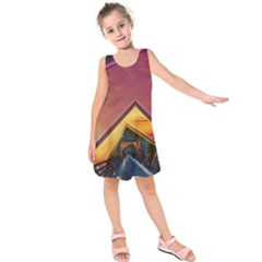 The Rainbow Bridge of a Thousand Fractal Colors Kids  Sleeveless Dress