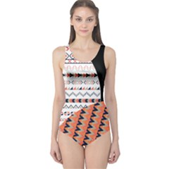 Coral & Black Tribal Pattern One Piece Swimsuit