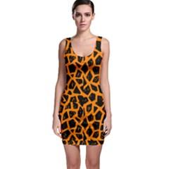 Black & Orange Cheetah Pattern Bodycon Dress