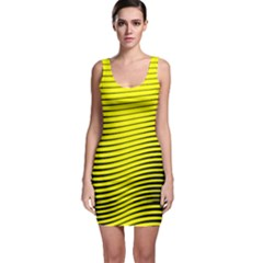 Yellow & Black Chevron Pattern Bodycon Dress
