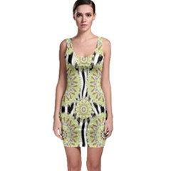 Yellow Green Mandala Pattern Bodycon Dress