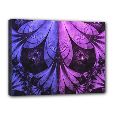Beautiful Lilac Fractal Feathers of the Starling Canvas 16  x 12
