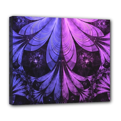 Beautiful Lilac Fractal Feathers of the Starling Deluxe Canvas 24  x 20