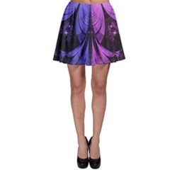 Beautiful Lilac Fractal Feathers of the Starling Skater Skirt