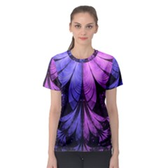 Beautiful Lilac Fractal Feathers of the Starling Women s Sport Mesh Tee