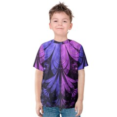 Beautiful Lilac Fractal Feathers of the Starling Kids  Cotton Tee