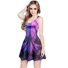 Beautiful Lilac Fractal Feathers of the Starling Reversible Sleeveless Dress