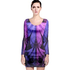 Beautiful Lilac Fractal Feathers of the Starling Long Sleeve Bodycon Dress
