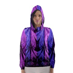 Beautiful Lilac Fractal Feathers of the Starling Hooded Wind Breaker (Women)