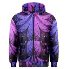 Beautiful Lilac Fractal Feathers of the Starling Men s Zipper Hoodie