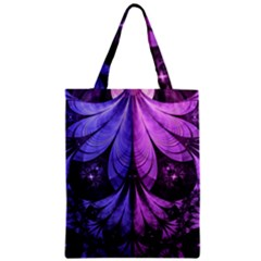 Beautiful Lilac Fractal Feathers of the Starling Zipper Classic Tote Bag