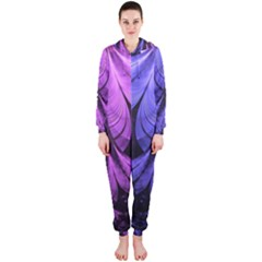 Beautiful Lilac Fractal Feathers of the Starling Hooded Jumpsuit (Ladies)