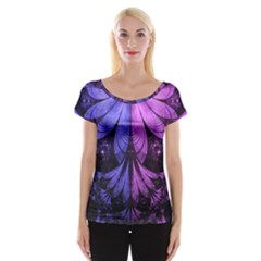 Beautiful Lilac Fractal Feathers of the Starling Cap Sleeve Tops