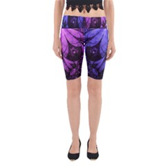 Beautiful Lilac Fractal Feathers of the Starling Yoga Cropped Leggings