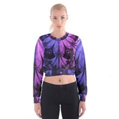 Beautiful Lilac Fractal Feathers of the Starling Cropped Sweatshirt
