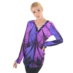 Beautiful Lilac Fractal Feathers of the Starling Women s Tie Up Tee