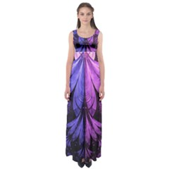 Beautiful Lilac Fractal Feathers of the Starling Empire Waist Maxi Dress