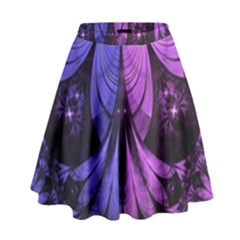 Beautiful Lilac Fractal Feathers of the Starling High Waist Skirt