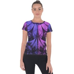 Beautiful Lilac Fractal Feathers Of The Starling Short Sleeve Sports Top