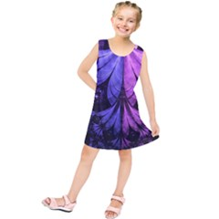 Beautiful Lilac Fractal Feathers of the Starling Kids  Tunic Dress