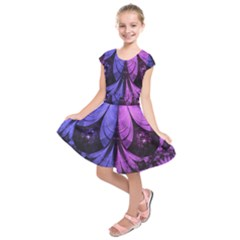 Beautiful Lilac Fractal Feathers of the Starling Kids  Short Sleeve Dress