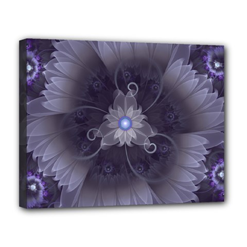 Amazing Fractal Triskelion Purple Passion Flower Canvas 14  x 11